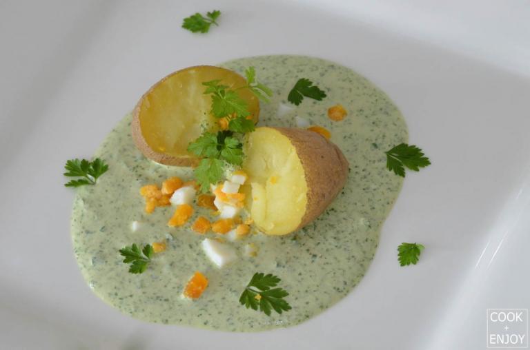 COOK and ENJOY Rezept Grüne Soße mit Pellkartoffeln und hartgekochten Eiern