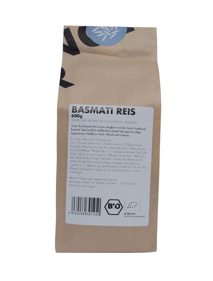 COOK and ENJOY Shop Basmati Reis 600g Bio von Reishunger Etikett