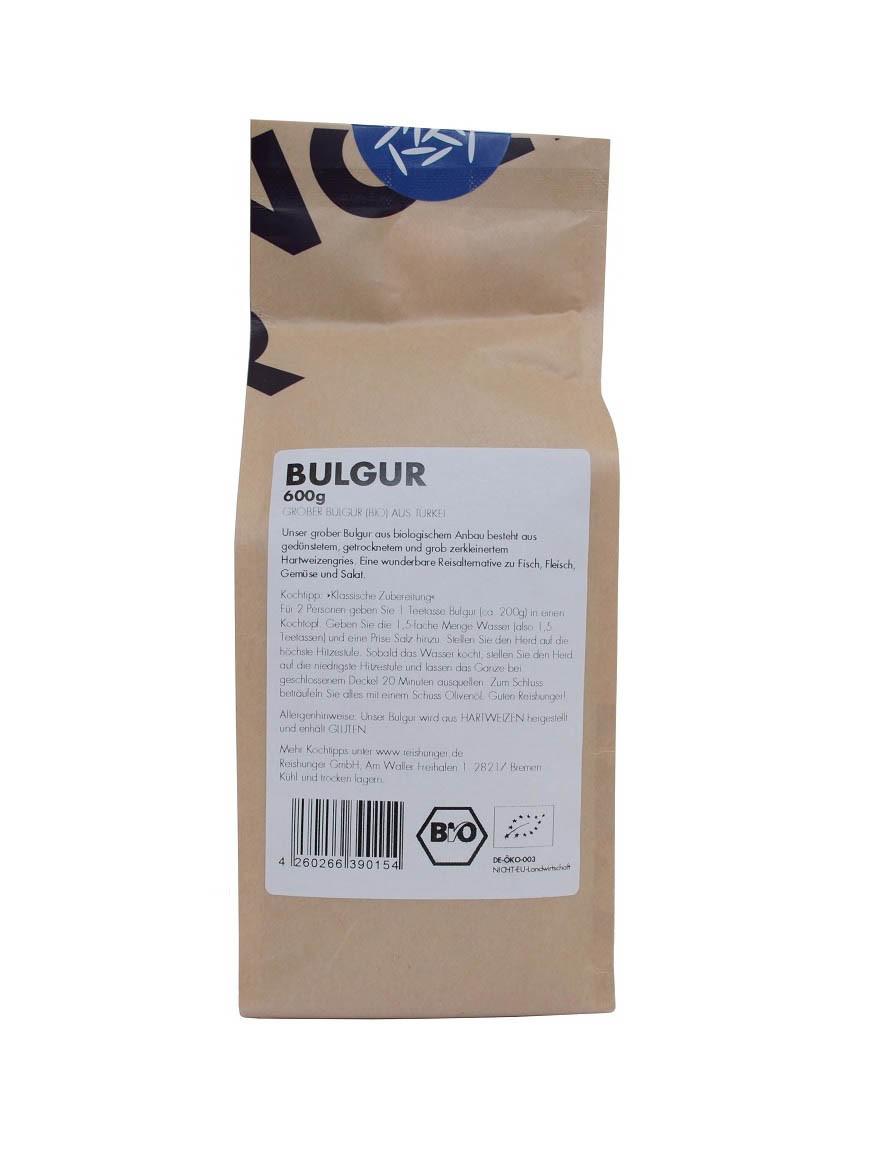 COOK and ENJOY Shop Bulgur 600g Bio von Reishunger Etikett