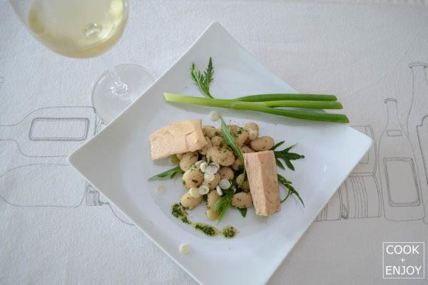 COOK and ENJOY Rezept Weißer Bohnensalat mit Pesto & Aubergine oder Thunfisch mit Pesto Aubergine oder Thunfisch