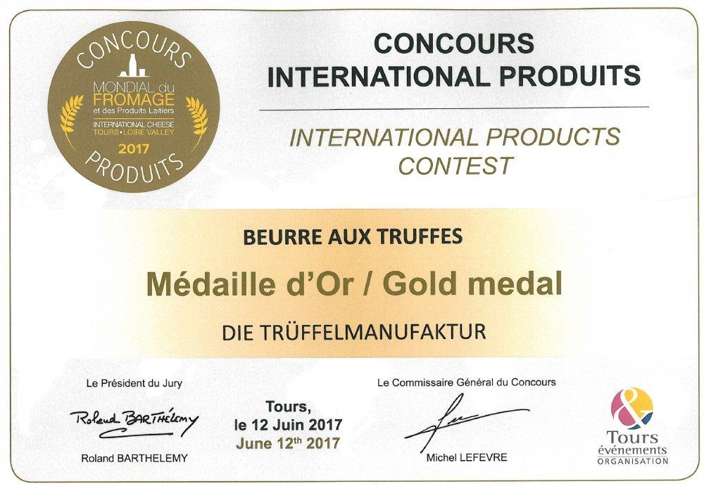 COOK and ENJOY Shop Trüffelbutter Mondial du Fromage 2017 Gold medal