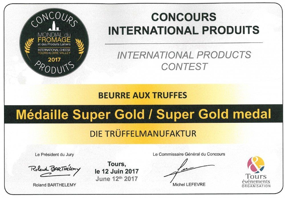 COOK and ENJOY Shop Trüffelbutter Mondial du Fromage 2017 Super Gold medal