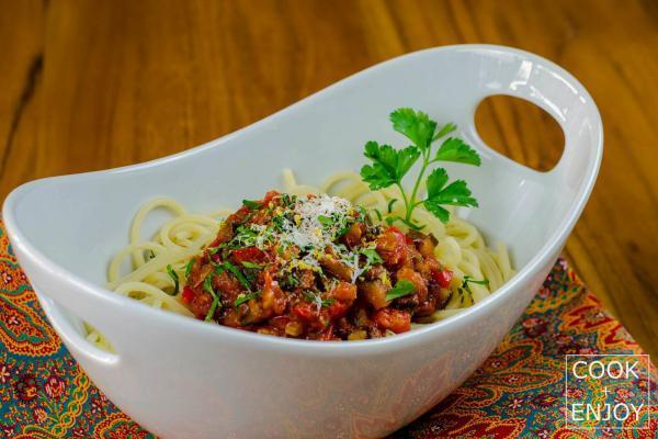 COOK and ENJOY Rezept Spaghetti mit Ratatouille und Gremolata