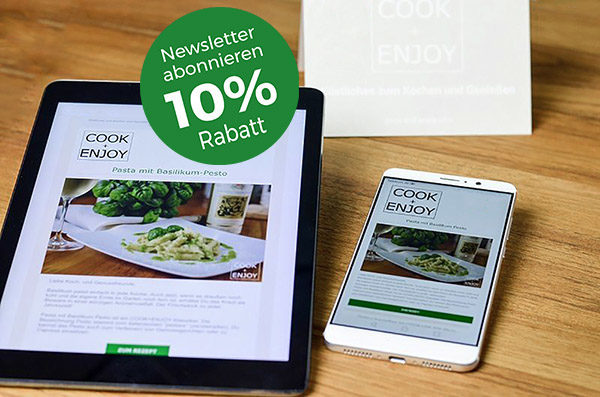 COOK+ENJOY Newsletter abonnieren Gutschein 10% Rabatt für Anmeldung