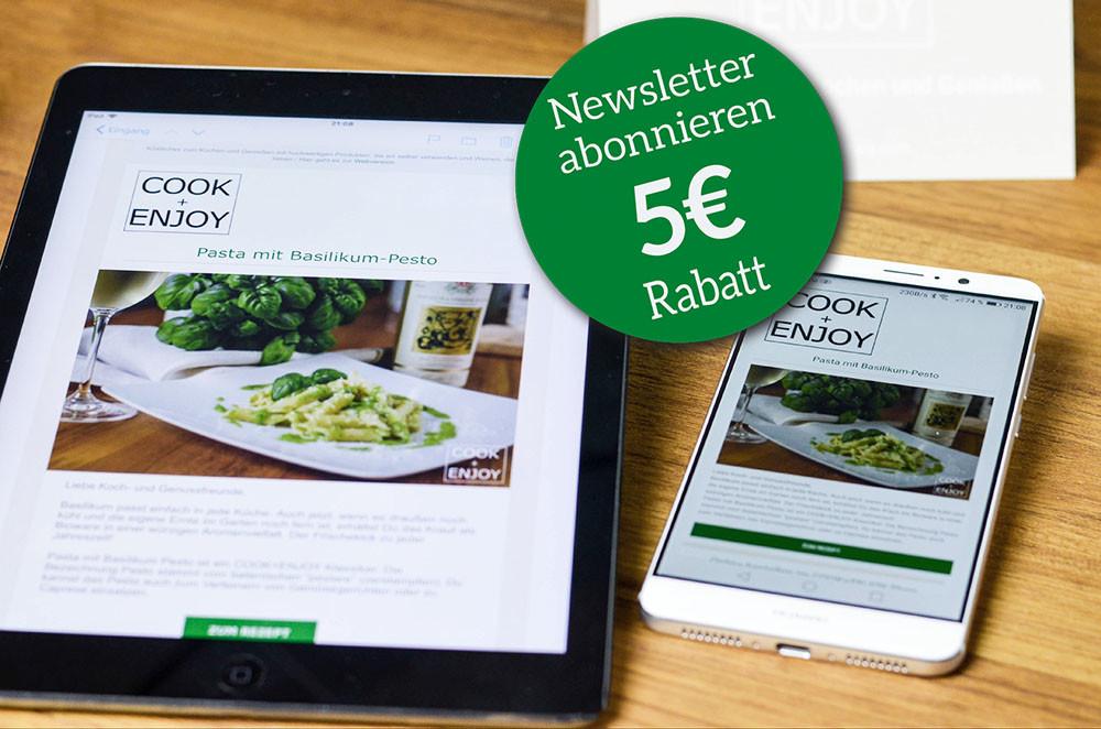 COOK+ENJOY Newsletter abonnieren Gutschein 5€ Rabatt für Anmeldung