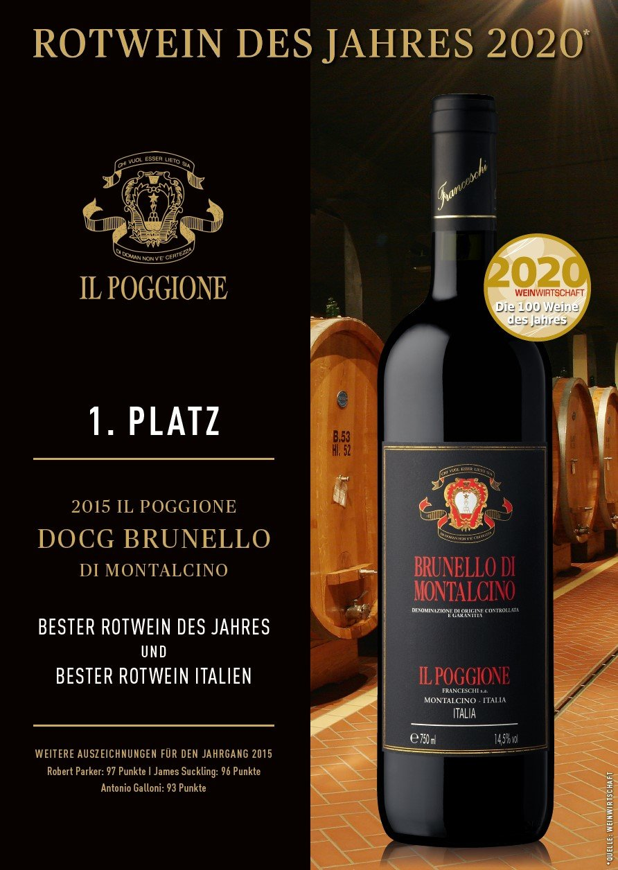 COOK and ENJOY Shop Il Poggione Brunello di Motalcino 2015 Bester Rotwein des Jahres